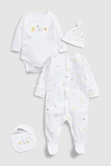 Bright Farm Animal Character Sleepsuit, Short Sleeve Bodysuit, Bib And Hat Set (0-6mths)