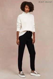 Mint Velvet Black Twill Tapered Trousers