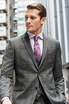 Grey/Blue Wool Blend Check Suit: Waistcoat