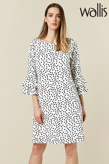 Wallis Petite White Spot Print Flute Sleeve Dress