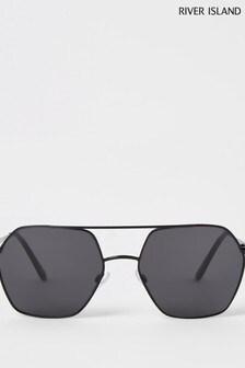 River Island Black Hex Aviator Style Sunglasses