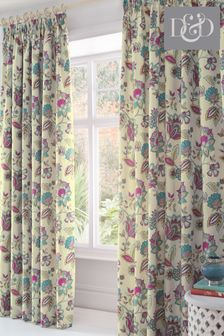 Marinelli Floral Lined Pencil Pleat Curtains by D&D