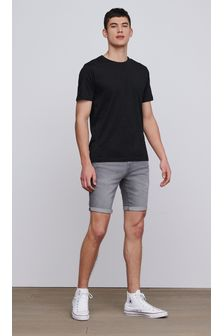 Grey Skinny Fit Denim Shorts
