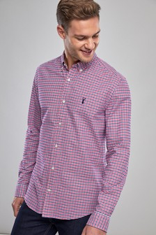 0ef041211d31c Red Navy White Long Sleeve Gingham Check Shirt ...