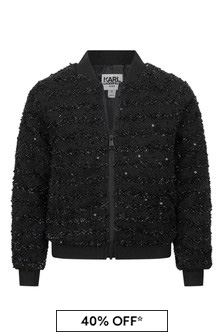 Girls Black Branded Bomber Jacket