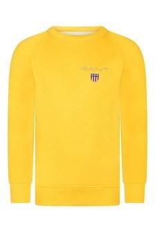 Boys Yellow Cotton Shield Logo Sweater