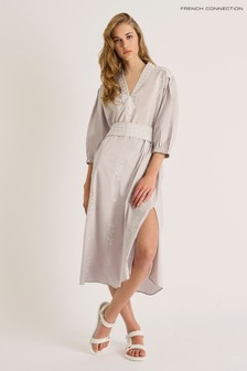 French Connection Grey Fikari Embroidered Oversized Dress
