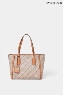 River Island Brown RSD Printed Shopper Bag