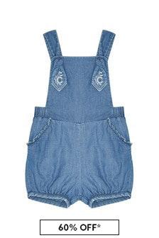 Girls Blue Cotton Dungarees