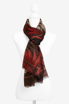 Red Autumnal Leaves Scarf