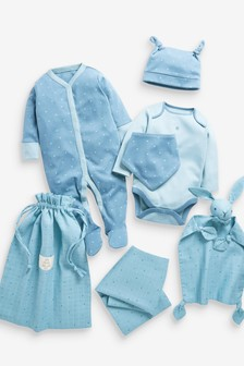 Blue Newborn 6 Piece Sleepsuit And Accessories Gift Set In A Bag (0-9mths)