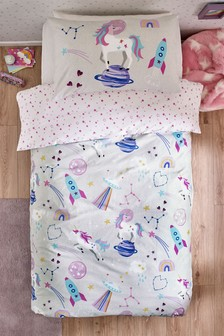 Unicorns In Space Duvet Cover and Pillowcase Set