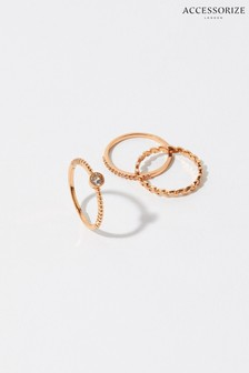 Accessorize Rose Gold Plated Vine Ring Set
