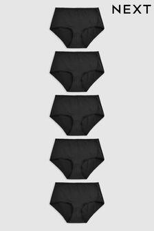 Black Midi Microfibre Knickers Five Pack