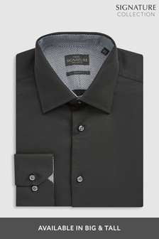 Black Slim Fit Single Cuff Signature Textured Shirt