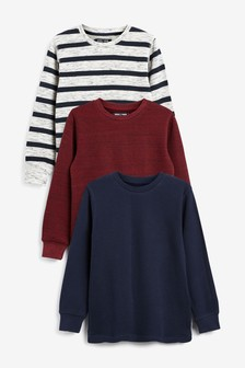 Navy Stripe 3 Pack Cosy Eyelet T-Shirt (3-16yrs)