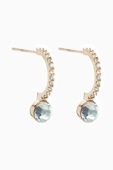 Sterling Silver RoseGold Plate Sparkle Drop Hoop Earrings