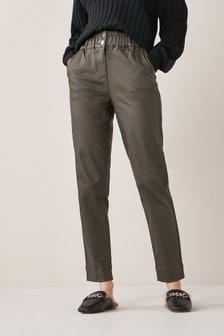 Khaki Coated Elasticated Waist Tapered Jeans