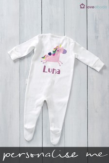 Personalised Printed Unicorn Long Sleeved Sleepsuit by Loveabode