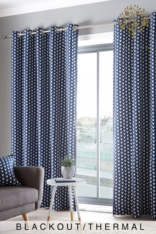 Appletree Dari Geo Blackout/Thermal Eyelet Curtains With Pom Pom Trim