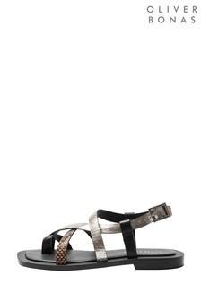 Oliver Bonas Black Snake And Gold Square Leather Toe Sandals