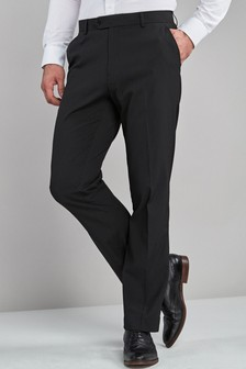 Black Regular Fit Stretch Plain Front Trousers