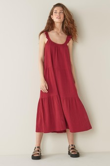 Red Frill Cotton Maxi Dress
