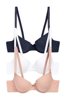 Navy/Pink/White Carrie Light Pad Plunge Cotton Blend Bras Three Pack