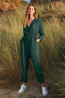 Green Spot Long Sleeve Jumpsuit