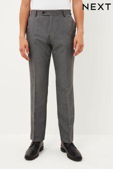 Light Grey Regular Fit Machine Washable Plain Front Trousers