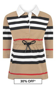 Baby Girls Beige Icon Stripe Cotton Dress