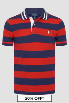 Boys Red Striped Cotton Polo Top