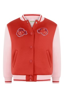 Girls Red/Pink Baseball Jacket
