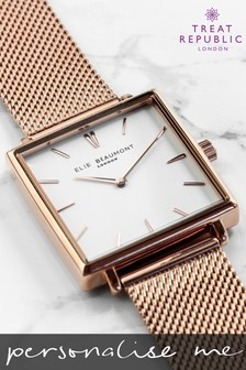 Personalised Women's Rose Gold Metallic Square Watch by Treat Republic