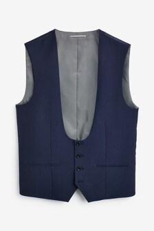 Blue Textured Suit: Waistcoat