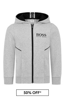 Boys Grey Cotton Tracksuit