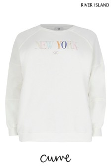 River Island Plus White New York Embroidered Sweater