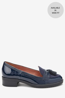 Navy Material Mix Regular/Wide Fit Cleated Tassel Loafers