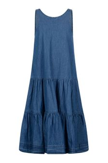 Girls Blue Cotton Denim Dress