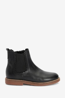 Black Leather Scallop Chelsea Boots