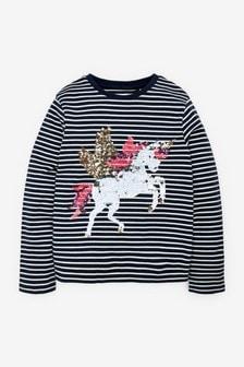 Navy Stripe Unicorn Long Sleeve Top (3-16yrs)