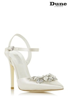 Dune London Chancey Ivory Satin Embellished Pointed Toe Court Wedding Shoes