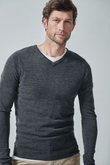Dark Grey V-Neck Soft Touch Jumper