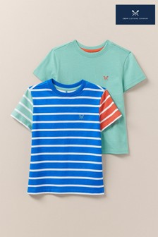 Crew Clothing Blue Stripe And Plain T-Shirts Two Pack