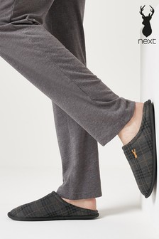 Grey Check Mule Slippers