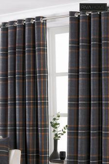 Aviemore Large Check Eyelet Curtains by Riva Home