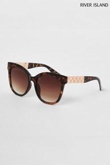 River Island Brown Print Daniella Oversized Sunglasses