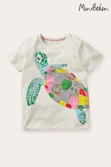 Boden Ivory Rainbow Appliqué T-shirt