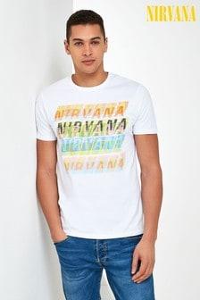 White Nirvana Text Licence T-Shirt