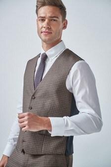 Tan Gingham Check Suit: Waistcoat